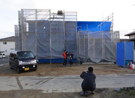 撫川に建築がスタートした注文住宅の上棟写真です